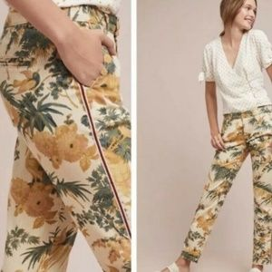 Anthropologie Chino Relaxed Fit Pants Bird Leaf 26